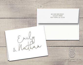 Letterpress Foil Thank You Cards & Envelopes - Newlywed Correspondence Cards - Custom Stationery Fold Over Note Cards