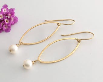 Long Dangle Earrings for Women - Long Earrings Fashion - Statement Earrings for Women - Long Gold Earrings - Pearl Earrings