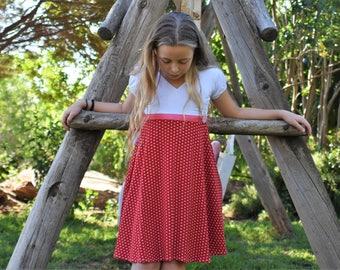 Red and white girls dress - twirly dress for girls - toddler girl birthday dress