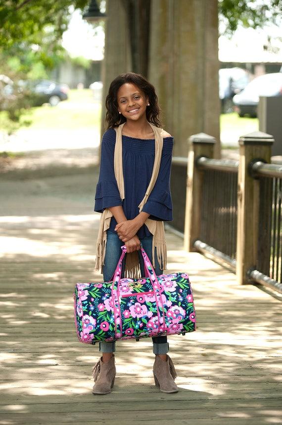 Monogrammed Duffle Bag Pink Floral Duffel Bag Overnight Bag Travel Bag Monogrammed Gifts for Girls Personalized Gifts Pink Floral Bag