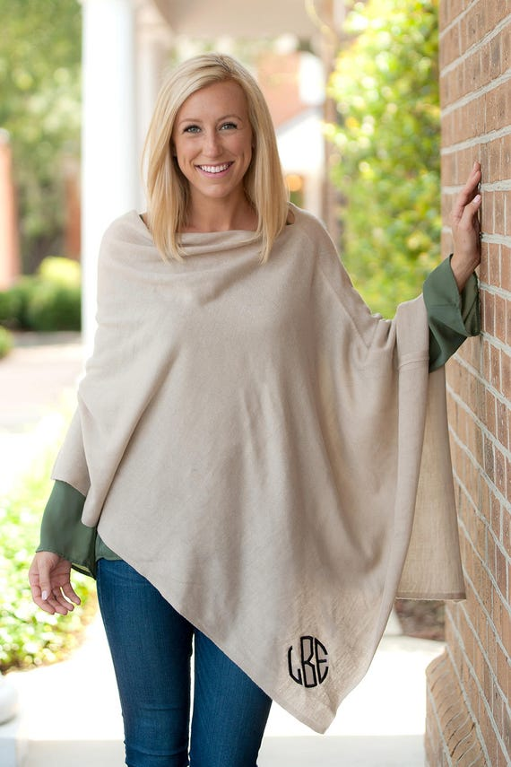 Monogrammed Poncho Personalized Wrap Cream Coverup Beige Poncho Personalized Accessories Winter Accessories Gifts for Her Highway12Designs