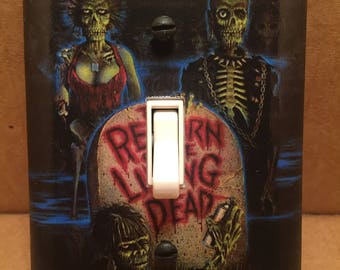 Return of the Living Dead Hand Drawn Movie Poster Light Switch Cover - Handmade - Horror
