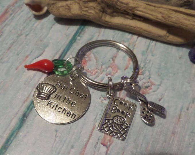 Love to cook gift, cooking keyring gift, hot chef gift, kitchen keyring, cook book gift, chilli cook gift, cooking keyring, sandykissesuk