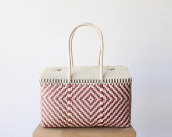 Colorful Hand Woven Mexico Bag, Oaxaca Tote, Mexican Plastic Bag, Mexican Basket, Mexican Art, MexiMexi, Picnic Basket