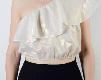 Scarlett one-shoulder ruffled Cotton Top