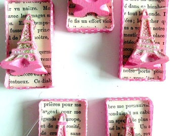 Eiffel Tower Mixed Media Ornament/Jewelry Supplies, Set of Five