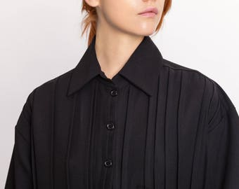 Woman's black shirt dress / Pleated lagenlook elegant dress / Designer hand pleated collar dress / Unusual fashion dress / Fasada 18006