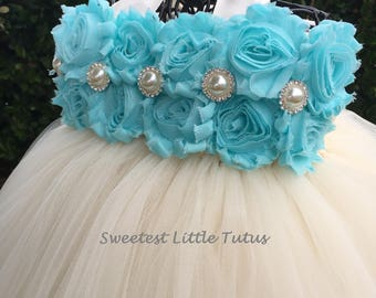 Aqua and Ivory Flower Girl Tutu Dress/ Aqua Flower Girl Dress/ Light Blue Flower Girl Dress/ Flower Girl Dress