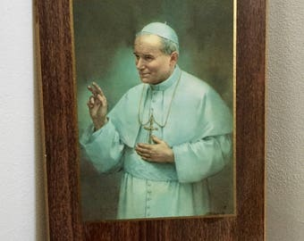 Vintage POPE JOHN PAUL I I, Laminated Pope Photograph, Religious Photograph, Pope Souvenir, Plaque of Pope