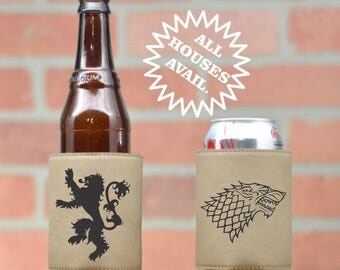 Game of Thrones Inspired Leather Can Coolers | Game of Thrones House Crests. GOT House Crests. GOT Can Coolers. Stark. Lannister. Frey. GOT