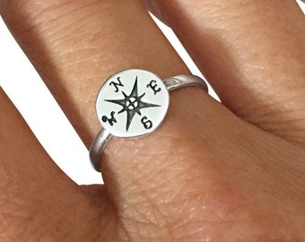Sterling Silver Ring, Compass Ring, Band Ring,  Travel Ring, Nautical Ring, Best Friends Ring, Silver Ring