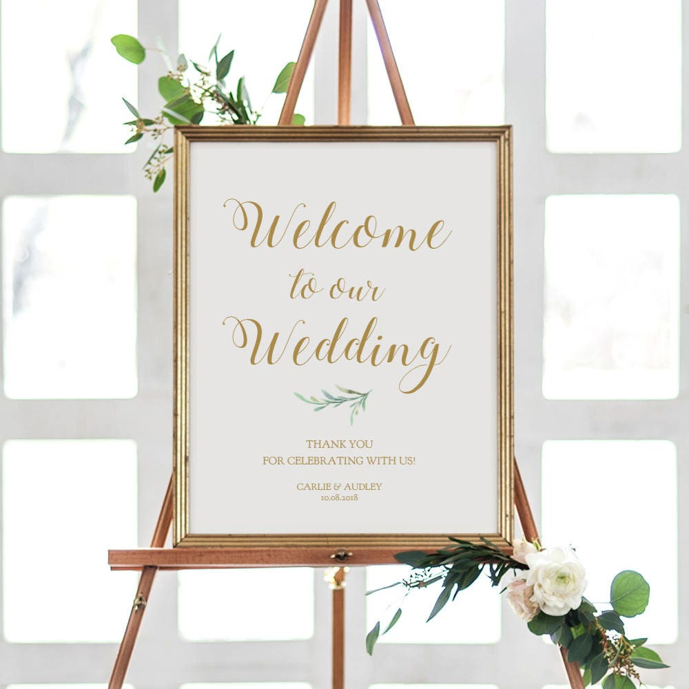 greenery welcome wedding sign printable printable welcome sign template wedding welcome 18x24. Black Bedroom Furniture Sets. Home Design Ideas