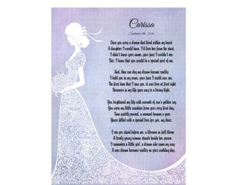 "Daughter's Poem from Mother 'Daughter of My Dreams' Personalized 5"" x 7"" Poem Print Wedding Keepsake from Mother"