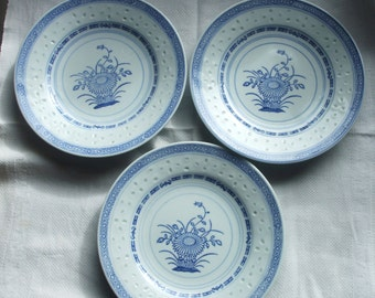 Set of Three Vintage Blue and White Chinese Plates