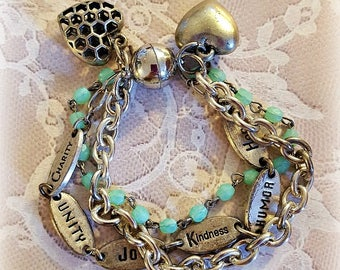 Silver Bracelet, Turquoise Rosary Beads, Silver Chunky Chains, Heart Charms, Assemblage Bracelet, Repurposed and Upcycled Jewelry