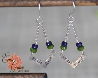 READY TO SHIP - Seattle Seahawks Earrings, Sterling Silver Hammered Chevrons, Sapphire and Peridot, Loud & Proud