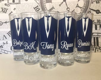 Personalized Shot Glasses with Tuxes, will you be my groomsman, groomsman gifts, wedding party gifts, Bachelor party, groomsman proposal