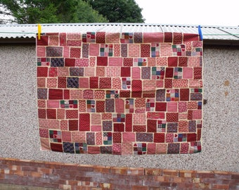 """patchwork throw, scrap fabric lap blanket, primitive raw edged throw,  ticker tape throw,  wheelchair cover all, 29.5"""" x 39"""""""