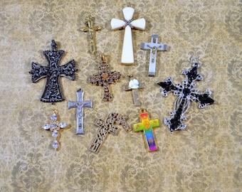Religious Supply LOT of 12 Crucifixes Crosses Rhinestone Crosses Assorted Styles Crucifixes Repurposing Lot Reuse Lot Religious Destash Lot