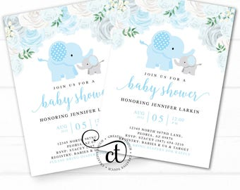 Blue Elephant Baby Shower Invitation, Elephant Baby Shower Invite, Floral Elephant, boho, Blue, Gray, Grey, Boy Elephant, It's a Boy