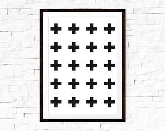 Cross print, Swiss cross print, Scandinavian nursery, Pattern print, Cross artwork, Minimalist cross wall, Cross wall art, Scandinavian art