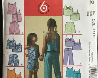 McCalls M4762 - Girls Summer Top, Sorts, Skort, and Capri Pants - Size 3 4 5 6