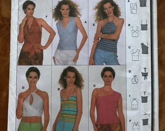 Burda 8633 - Sleeveless Summer Tops with Halter, Asymmetrical, Cut Out, and Cowl Options - Size 6 8 10 12 14 16