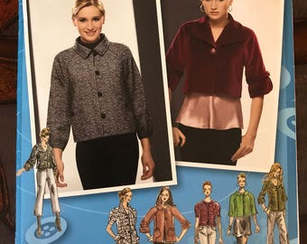 Simplicity 2858 - Project Runway Button Front Jacket or Shrug with Short, Elbow Length or Three Quarter Length Sleeves - Size 12 14 16 18 20