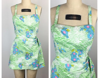 Vintage 1960s Romper / 60s Green and Blue Floral Gabar Wrap Playsuit / Medium to Large