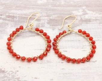 Red earrings Gold filled wire wrapped carnelian gemstone earrings, 1 inch boho hoop earrings, gold hoops Fbirthday gift