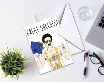 Graduation Greeting Card, Great Success Graduation Card, Congratulations Card, Funny Graduation Greeting Card, Borat Graduation Card Funny