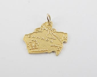 14K Yellow Gold Canadian Map Pendant, 14k Gold Canadian Map Charm, Map Of Canada