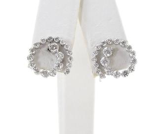 14k White Gold Journey Design Diamond Screw Back Earrings 1.00 carat
