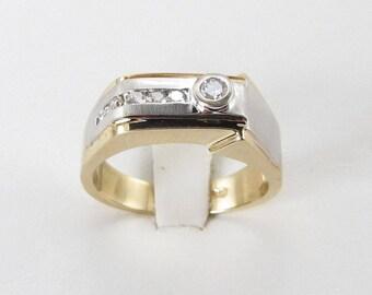 14k Yellow And White Gold Men's Diamond Ring Size 10