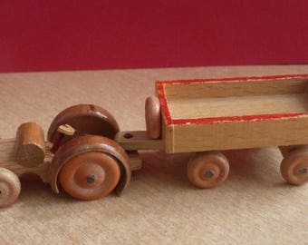 Vintage old small tractor with trailer wooden Erzgebirge Germany CA. 1960