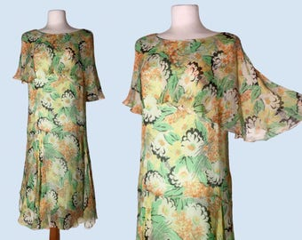 Layaway 1920s Floral Silk Chiffon Flutter Flapper Afternoon Tea Dress / Roaring 20's Glamor / Gatsby Era / Downton Abbey