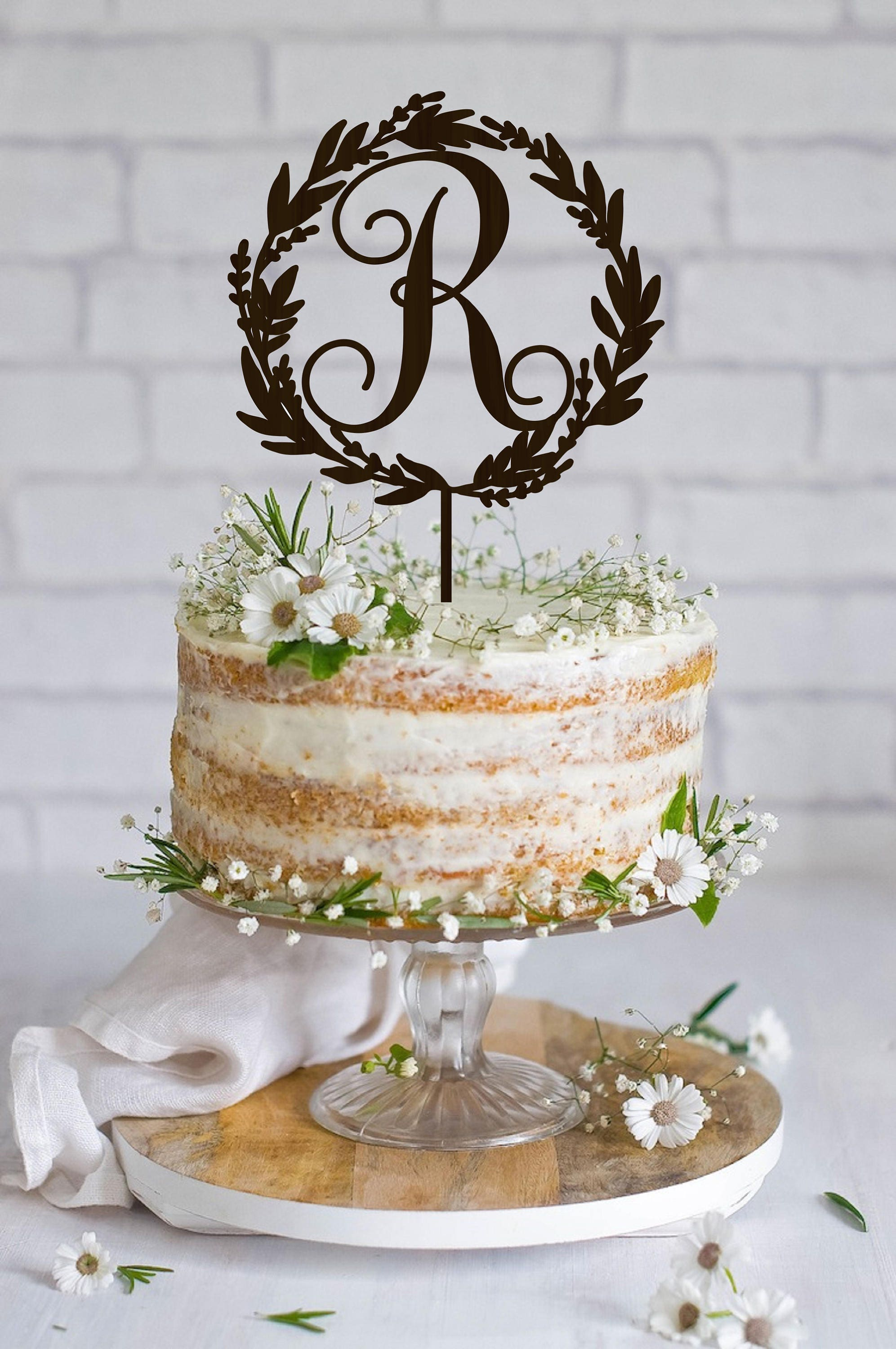 Wedding Cake Topper Initial Cake Topper Wedding Monogram Rustic ...