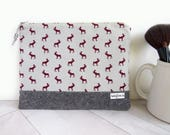 Vinyl Lined Make-Up Flat in Canadian Moose Charcoal Grey Linen  - Zipper Pouch for Cosmetics
