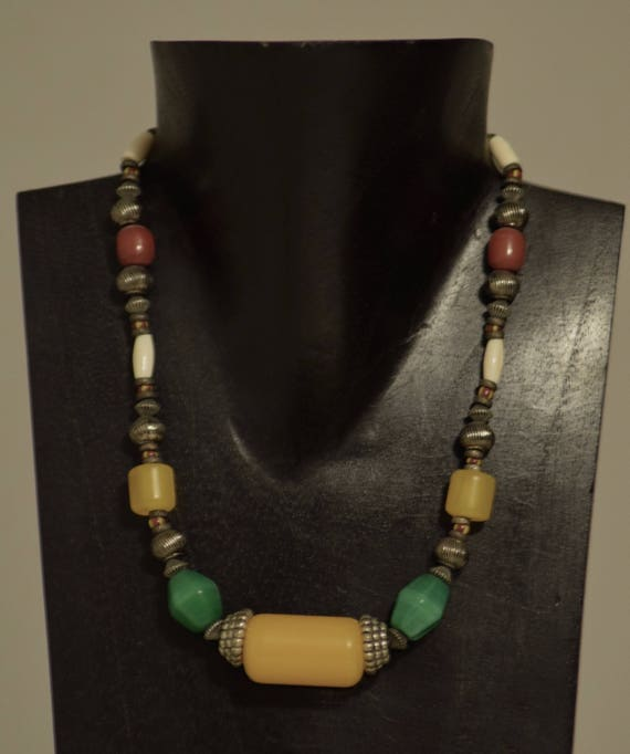 Necklace African Copal Amber Green Glass Silver Beads Handmade Jewelry African Glass Amber Buri Nut Silver Beaded Necklace