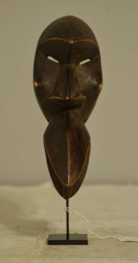 African Mask Wood Bete Dan Tribe Cote d'Ivorie Handmade Mens Carved Wood Animal Spirit Dancing Status Mask