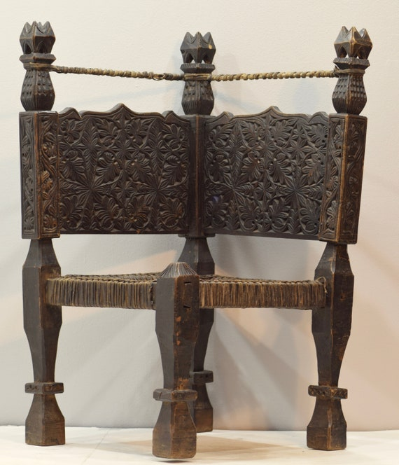 Chair Middle Eastern Swat Valley Double Sided Wood Carved Handmade Floor Chair