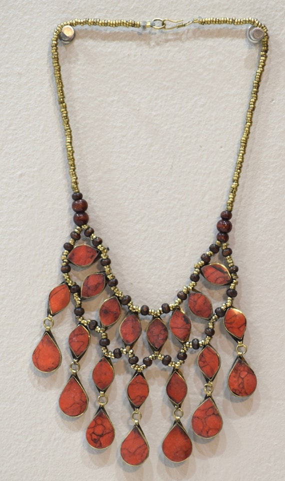 """Necklace Middle East Simulated Coral Teardrop Tribal Necklace 22"""""""