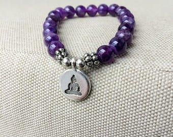 Amethyst Bracelet, buddha Healing Energy Bracelet Boho bead bracelets stretch bracelet, Handmade elastic bracelet, wrist mala, yoga aum om