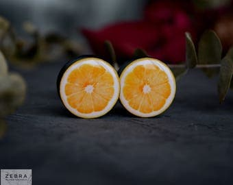Pair plugs Lemon fruit image ear wooden gauges,4,5,6,8,10,12,14,16,18,20,25-60mm;6g,4g,2g,0g,00g;1/4,5/16,3/8,1/2,9/16,5/8,3/4,7/8,1 1/4,1""
