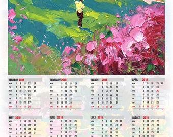 Calendar 2018 Golf Calendar 2018 Golf Wall Calendar 2018 Office Calendar Green Calendar Golf Gifts for Women Golf Gifts for Men Golf Art