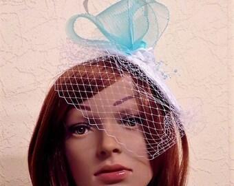 Bibi veil white turquoise wedding fascinator