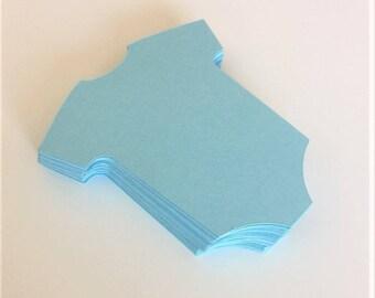"""Light Blue Baby Onesie Die Cuts (2.5"""" wide), Baby Boy Shower Decor, Onesie Place Cards, Baby Birthday Decor, Onesie Theme"""