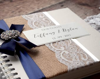 Rustic Hessian, Vintage Lace Wedding Guest Book, Handmade & Personalised, Rhinestone Button with Satin Bow in your colour choice.