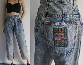 High waisted jeans, mom pants, acid rinse blue denim, 80s vintage retro trousers, pleated front, wide tapered leg, small medium, waist 28