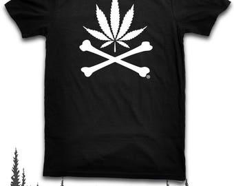 Black Market Leaf & Crossbones T Shirt